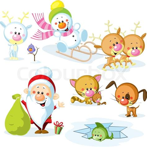 christmas animals animated santa claus with snowman animals reindeer cat bird and fish stock