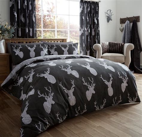 deer bedroom vintage stag head print duvet quilt cover deer antlers