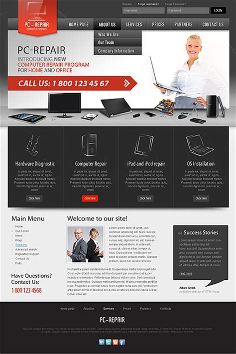 Pc Repair Computer Gadget Repair Services Joomla Theme Computer Repair Template