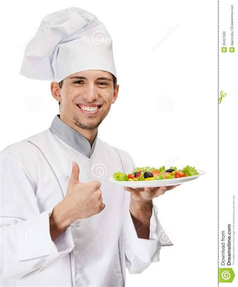 cook with chef cook with salad dish thumbs up stock photo image