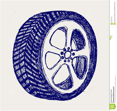 Tyre Wheels Doodle Style Royalty Free Stock Photography