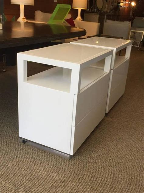 Pair Of White Lacquer And Lucite Nightstands By Cain White Caign Desk