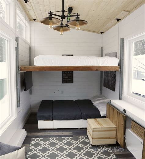 elevating bed turns tiny house  modern  spacious home