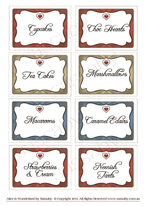 alice in wonderland tags template in labels