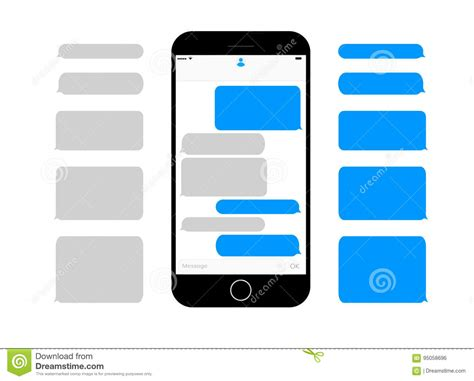 messenger for mobile phone mobile phone screen messaging text boxes empty bubbles