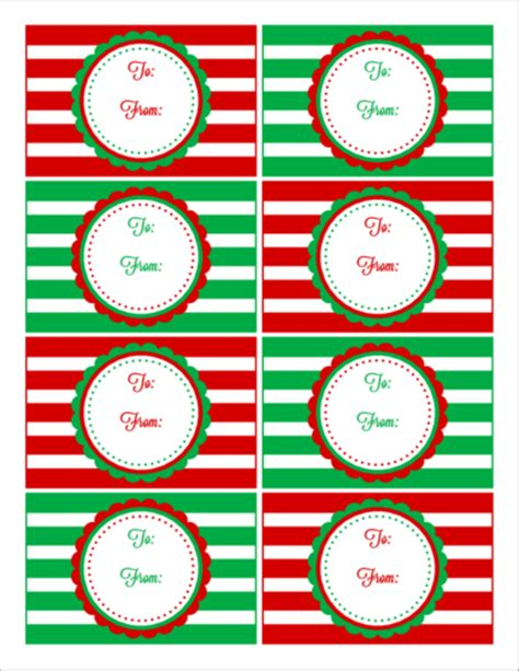 red green striped christmas gift tag labels label templates ol onlinelabelscom
