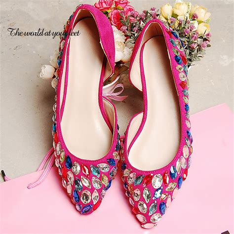 2015 new wedding shoes handmade fuchsia pointed toe dress
