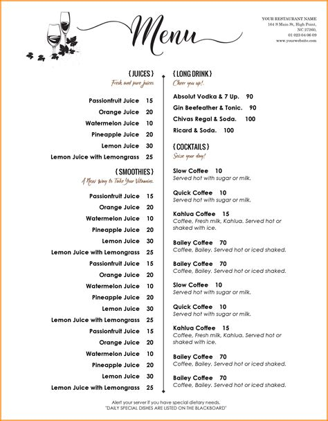 free printable menu templates for 8 free menu templates word odr2017