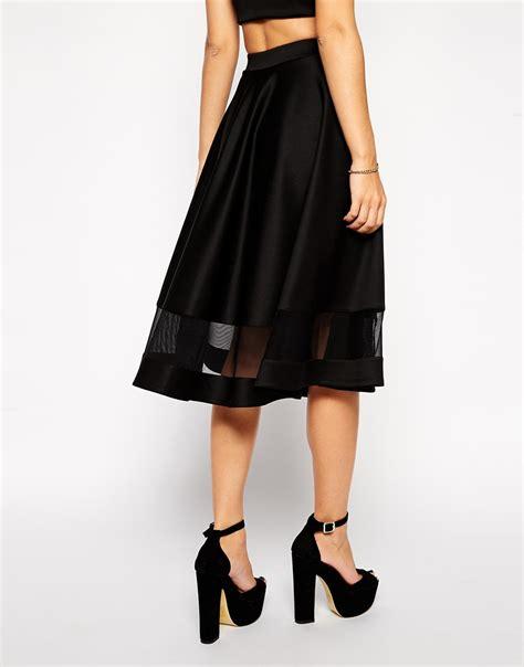asos midi skirt in scuba with sheer panel in black lyst