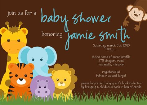 Jungle Themed Baby Shower Invitations by Jungle Theme Baby Shower Invitation