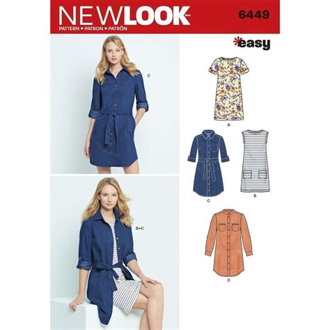 Knit Dress 20 new look sewing pattern misses easy shirt dress knit