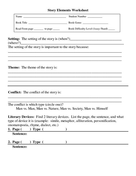 Story Element Worksheets by 10 Best Images Of Story Elements Worksheet