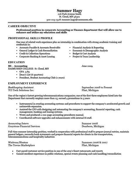Career Profile Exles For Resume by Resume Exles Career Objective Professional Skills Profile Education Employment