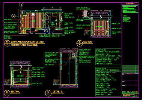 sauna  steam room details  autocad cad  kb