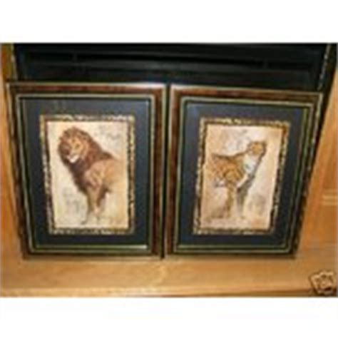 set of 2 home interior lion leopard safari pictures 01