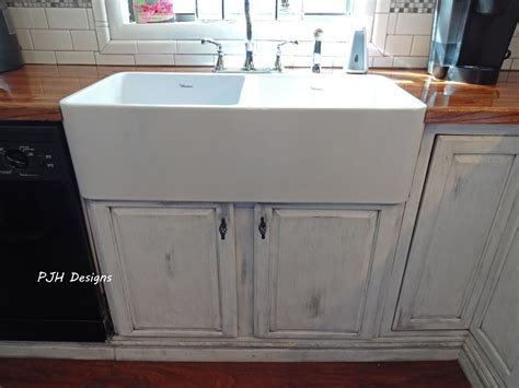 farmhouse kitchen sink cabinet pjh designs hand painted antique furniture apron sink