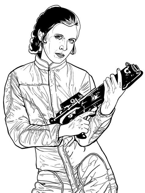 Princess Leia Armed And Dangerous By Artista Frustrado Princess Leia Drawings Free Coloring Sheets