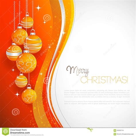 merry christmas card  orange bauble stock vector image