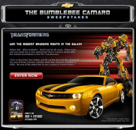 Sweepstakes Begins - the bumblebee camaro sweepstakes begins transformers news tfw2005