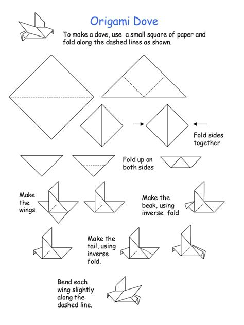 Easy Origami Dove - origami dove to make a dove use a small square of paper