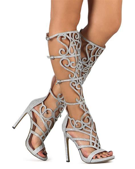 where can i buy knee high gladiator sandals new celeste chelsea 01 glitter knee high rhinestone