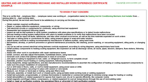 Air Conditioning Installer Cover Letter by Heating And Air Conditioning Mechanic And Installer Work Experience Certificate