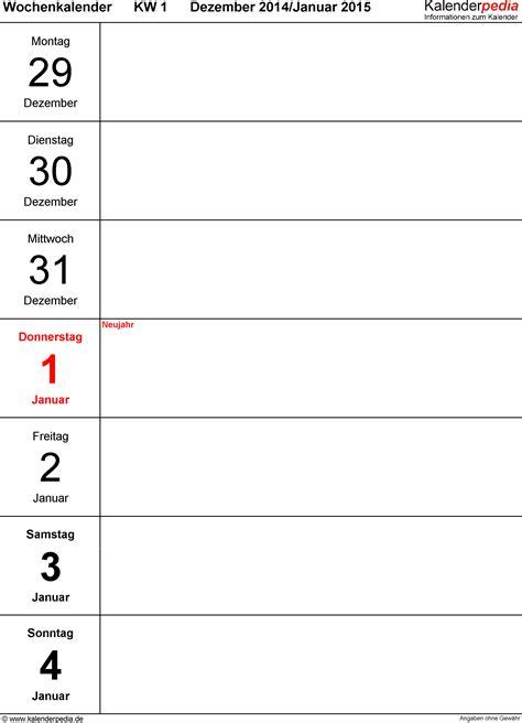 wochenkalender 2015 als pdf vorlagen zum ausdrucken