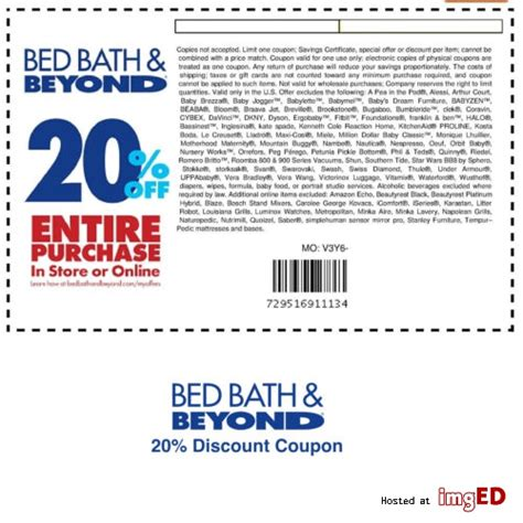 20 coupon for bed bath and beyond bed bath beyond coupon 20 off entire purchase three bed