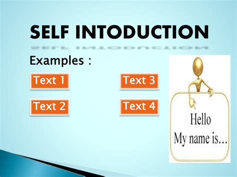 Presentation Of Self Introduction Self Introduction Ppt Template