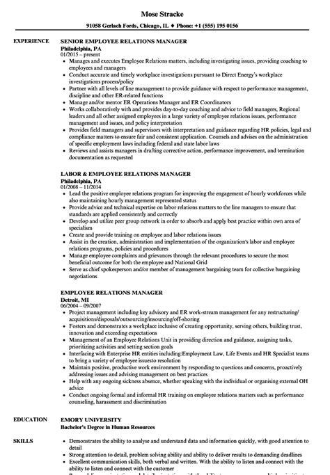 employee relations manager resume sles velvet