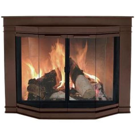 pleasant hearth glacier bay medium glass fireplace doors
