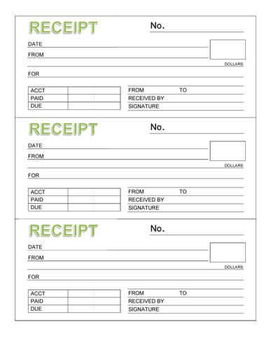 printable receipt template word 10 free rent receipt templates