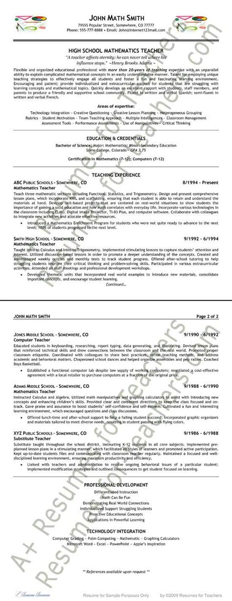 Sample Resume For Maths Teachers by Math Teacher Resume Example