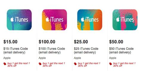 Itunes Gift Card Special - target offering 30 discount on second itunes gift card