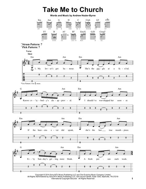 tutorial guitar take me to church take me to church sheet music by hozier easy guitar tab