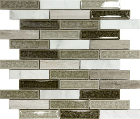 mosaic tiles kitchen backsplash sample gray crackle glass natural stone blend mosaic tile