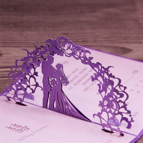 3d wedding card template laser cut 3d pop up wedding card unique purple