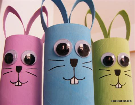 toilet roll paper crafts ecoscrapbook easter kid s craft toilet paper roll bunnies