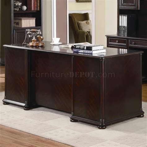 rich dark brown finish classic office desk woptional items