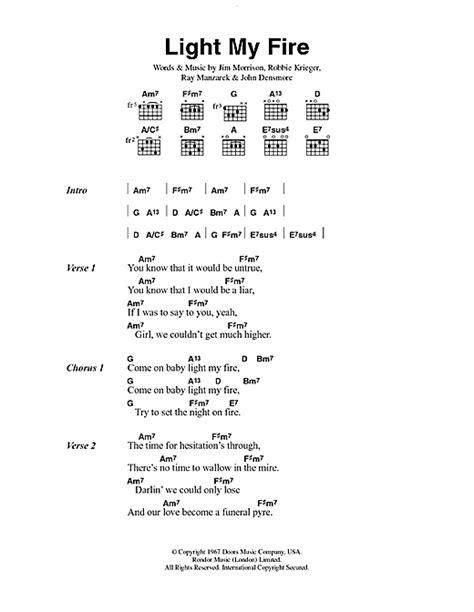 Light The Doors Lyrics light sheet by the doors lyrics chords