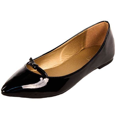 womens pointed toe ballet flats faux patent leather slip