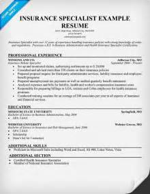 Insurance Specialist Cover Letter by Free Insurance Specialist Resume Resumecompanion Resume Sles Across All Industries