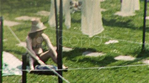 sunbathing in backyard circa 1957 vintage 8mm home