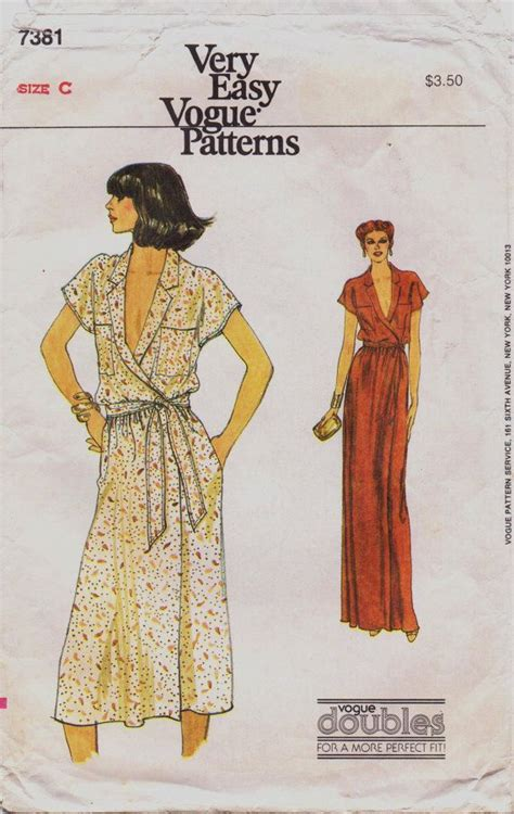 vogue pattern ease 80s very easy vogue pattern 7381 womens wrap dress with