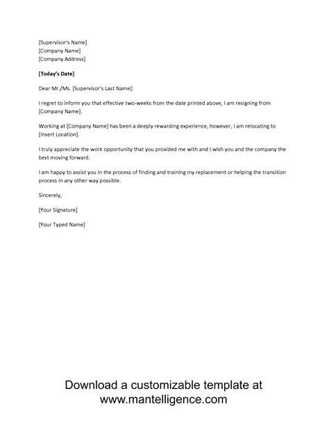 beautiful two week notice template new letter resignation examples