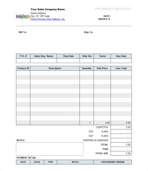 receipt template docs the proper receipt format for payment received and general