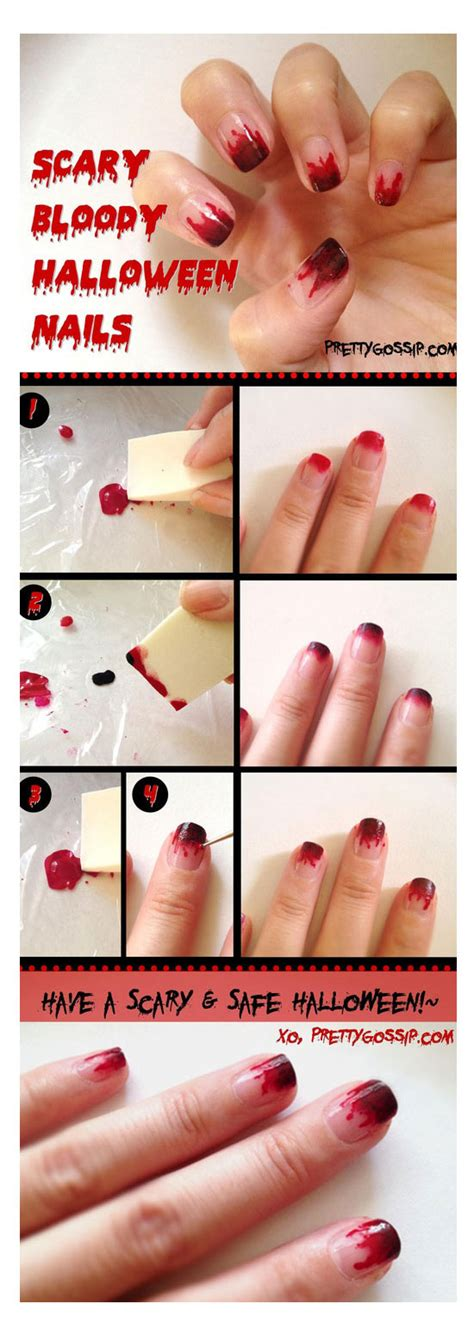 nail art tutorial for beginners at home simple easy scary halloween nail art tutorials 2014 for