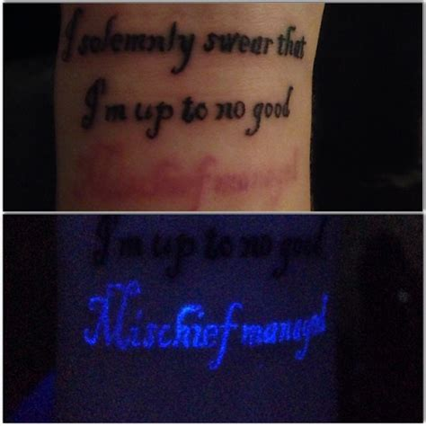 Mischief Managed Tattoo Glow In The Dark | mischief managed light tattoo on arm