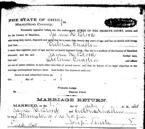Hamilton County Ohio Marriage License Records Woodhull S Secret Marriage Revealed