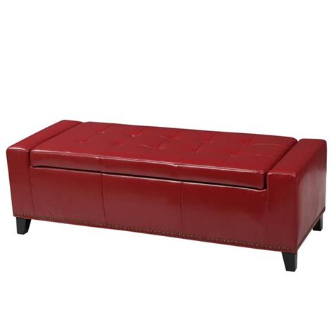 Robin Studded Red Leather Storage Ottoman Bench Gdf Studio Studded Storage Ottoman